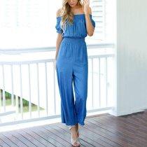 Blue Short Sleevs Off Shoulder Wide Leg Jumpsuit