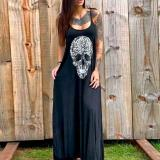 Summer Dress Women Skull Flower Print 2020 Punk Style Loose Sleeveless Long Dress Female Sexy High Slit Maxi Dress Vestidos New