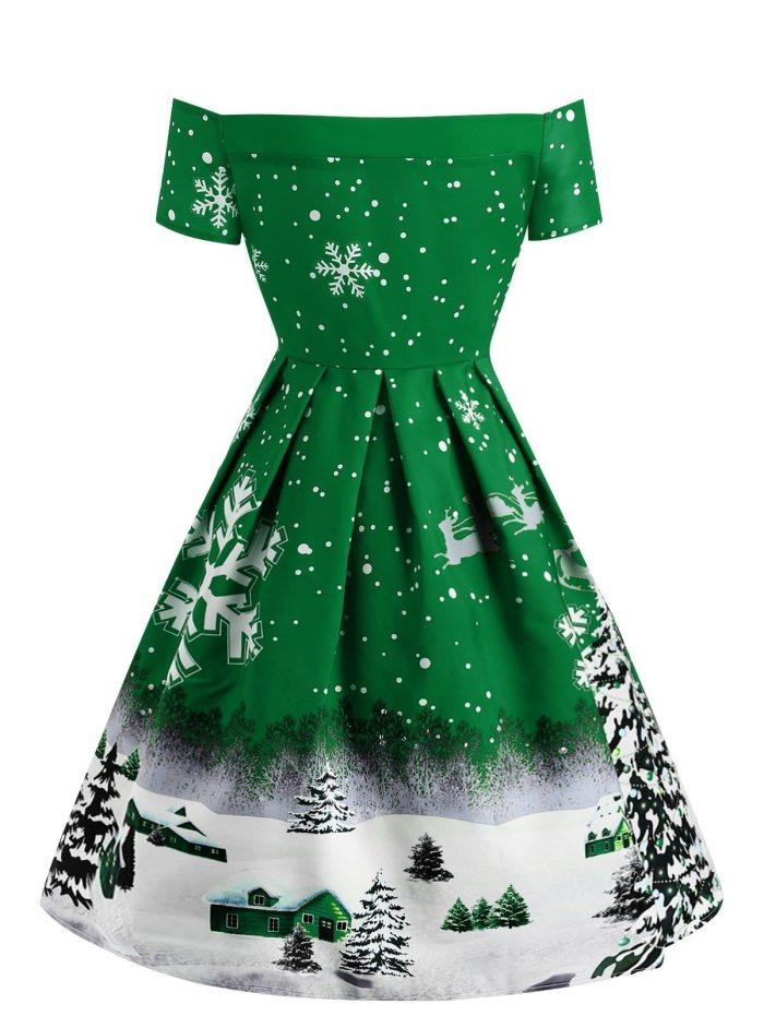 1950s Snowfall Off Shoulder Dress