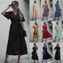 Long Dress Women Casual Print Midi Sundresses Elegant Fitted Clothing Dresses