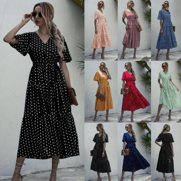 Long Dress Women Casual Print Midi Sundresses Elegant Fitted Clothing Dresses