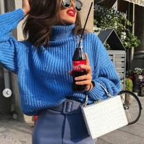 Pure Color Loose Turtleneck Knit Sweater