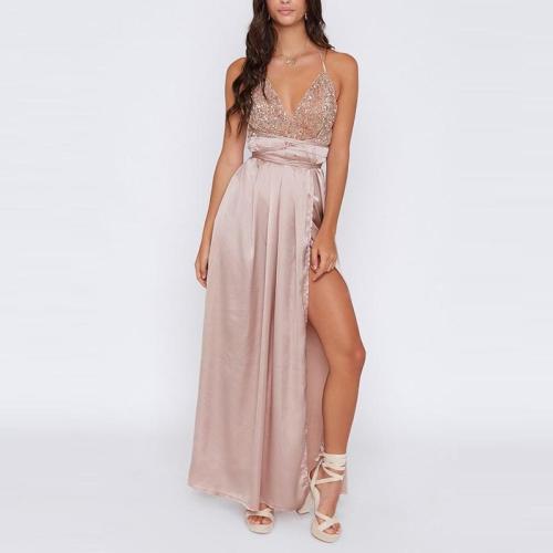 Casual Slit Patchwork Sleeveless Dress