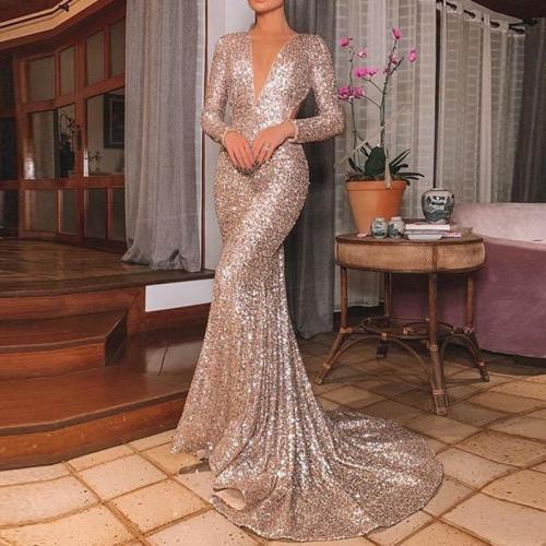 Fashion V Neck Pure Color Sequins Long Sleeve Dress