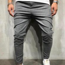 Fashion Stripe Color Blocking Slim Pencil Pants