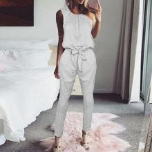 EBUYTIDE Simple Casual Round Neck Sleeveless Fitted Jumpsuit