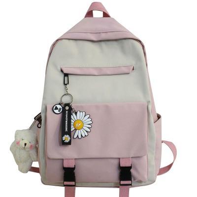 College Student Harajuku Backpack Cute Women Flower School Bag Ladies Book Kawaii Backpack Girl Waterproof Nylon Bags Female New