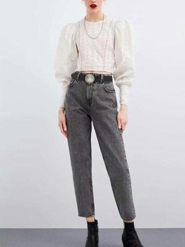 Fashion Lace Splicing Hollow Out Inwrought Shirt