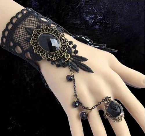 Vintage Black Lace Flowers Fingerless Bridal Gloves+Alloy Ring/Bridal Bracelet 1143