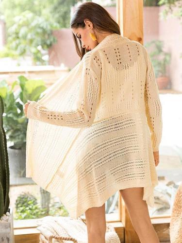 Knitting Hollow Long Sleeves Cardigan Tops