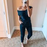 EBUYTIDE Solid One Shoulder Elastic Waist Jumpsuit With Pockets