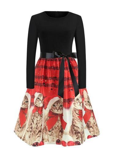 EBUYTIDE Women's Cute Christmas Cat Print Vintage Dress