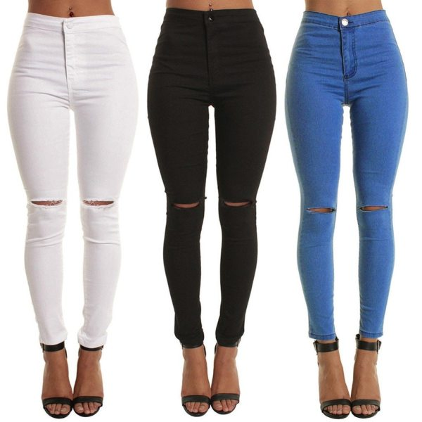 Sexy women's Casual Slim Solid Hole Long Jeans Ladies Spring Autumn Zippers Skinny Pants Daily Trousers calca jeans feminina