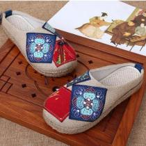Chinese Artist Embroidered Cotton Slippers
