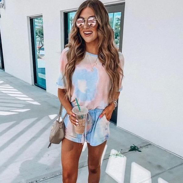 EBUYTIDE Round Neck Short Sleeve Tie Dye Fitted Jumpsuit