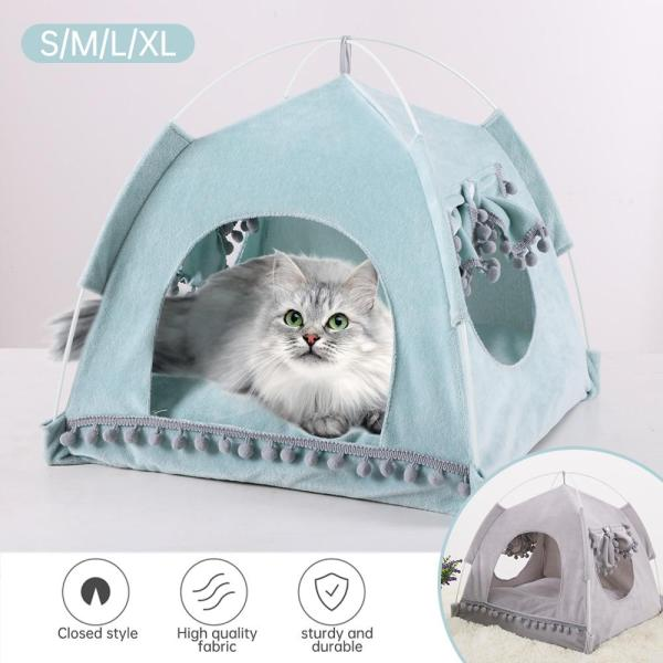 S-XL Dog Cat Soft Puppy Cushion Pads Pet Kennel House Pet Cat Dog Summer Nest Tent Ultra-soft Fabric Pet Sleeping Bed For S/M/L