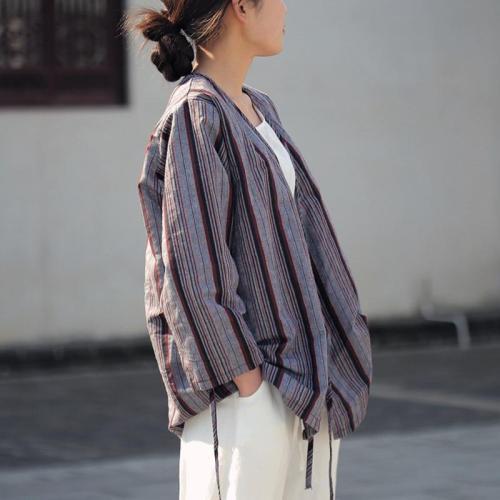 Striped V Neck Wrap Linen Shirt