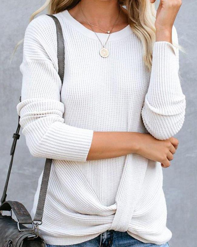 Boat Neck Solid Knit Top