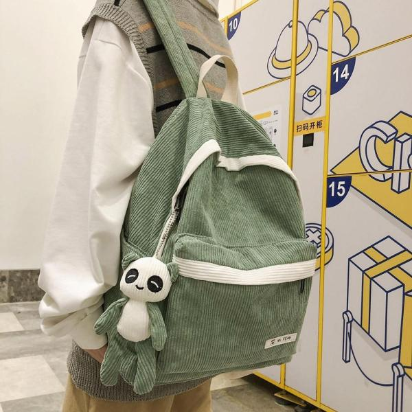 Student Stripe Corduroy Backpack Cute Women School Bag Teenage Girl Harajuku Backpack Kawaii Female Fashion Bag Book Lady Luxury