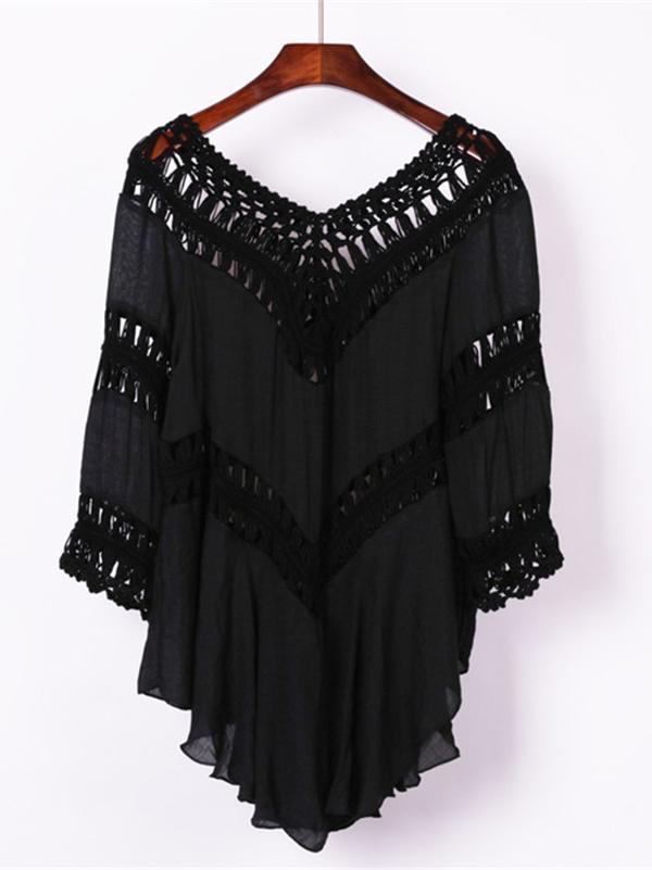 Plain Crochet Hollow Cover-Ups Swimwear