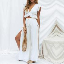 Fashion V Neck Sleeveless Shirt And Slit Broad Leg Pants