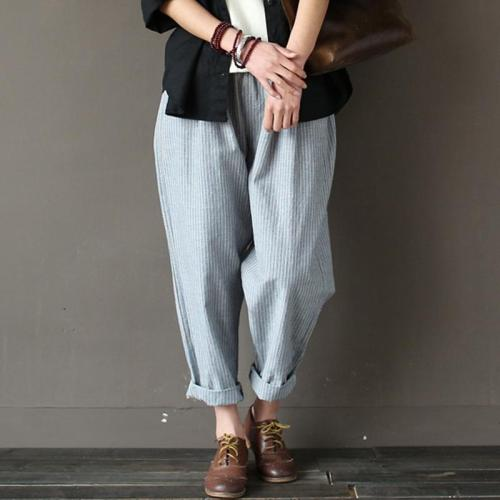 Casual Striped Rolled Up Trousers