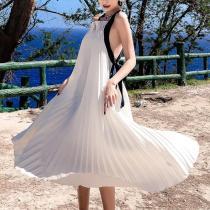 Elegant Bare Back Sling Pure Colour Sleeveless Dresses