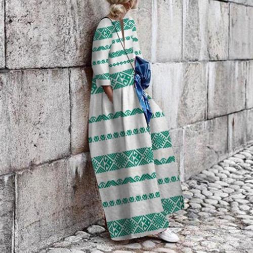 Athleisure Splicing Stripe Printed Colour Long Sleeve Dress
