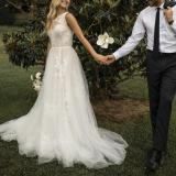 Fashion Sexy Mesh Sleeveless White Evening Dress