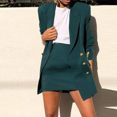 Elegant Turndown Collar Pure Colour Suit