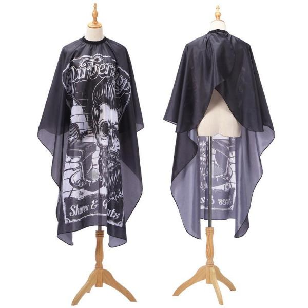 Haircut Hairdressing Barber Cloth Skull Man Pattern Apron Polyester Cape Hair Styling Design Supplies Salon Barber Gown