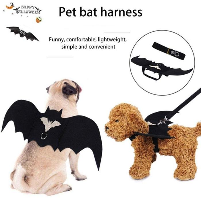 Halloween Pet Dog Cat Bat Wing Cosplay Prop Halloween Bat Fancy Dress Costume Outfit Wings Cat Funny Costume Supplies M
