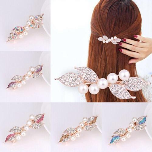 Women Girls Fashion Crystal Rhinestone Pearl Hair Claw Hair Clip Beauty Flower Barrette Hairpins Tiara Elegant Hair Accessories