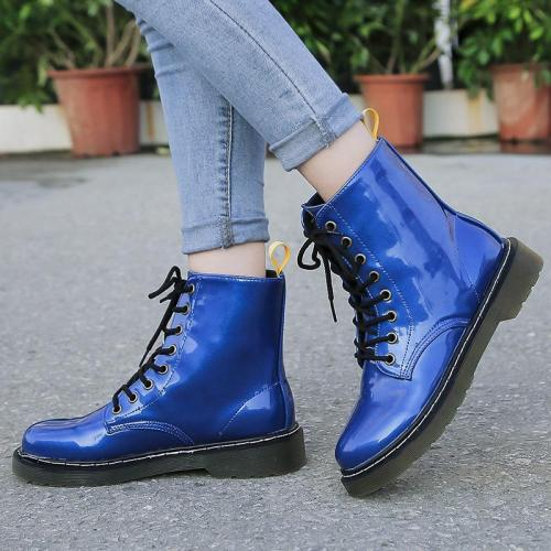 Simple Solid Color Lace-up Round Toe Boots