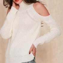 Fashion Versatile Slim High Collar Long Sleeve Strapless Knit Sweater