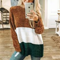 Autumn And Winter   Fashion Round Collar Splice Long-Sleeve Knitting Sweater