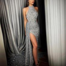 New Irregular Hem Silver Halter Evening Dress