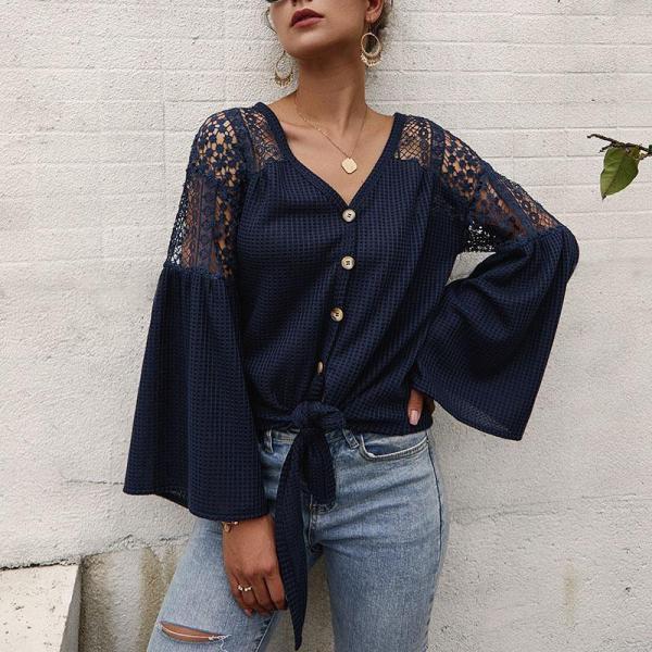 Women's Long Sleeve Knitwear In Solid Color Blouses