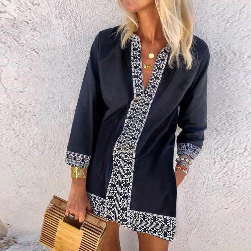 Fashion V-Neck Ethnic Print Dress