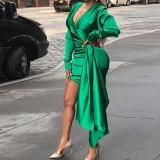 Shirring Satin Dress Deep V bodycon Dresses