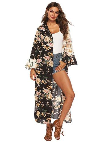 Sexy Printed Bikini Cardigan Beach Long Cover Up