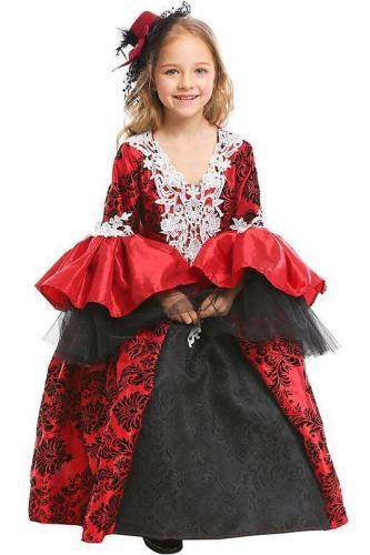 Little Girls Halloween Vampire Cosplay Costume Retro Royal Dress For Kids