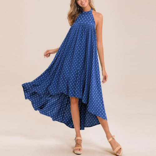 Casual halter neck irregular large print dress