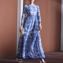 Elegant Printed Round Neck  Maxi Dress