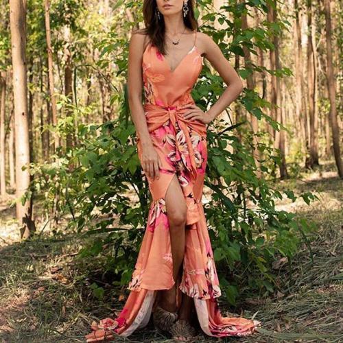 Bohemian Printed Colour V Neck Sleeveless Belted Dress