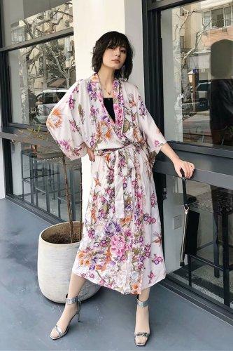 Boho Robe, Kimono Robe, Bird Paradise in Ivory