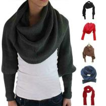 New Novelty Unisex Women Knitted Scarf With Sleeves Long For Ladies Shawls Wrap Solid Winter Warm Scarf