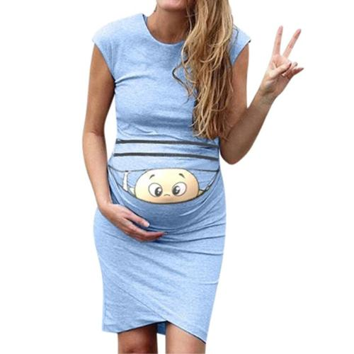 clothes for pregnant women Print Pregnant Maternity Dress Maternity Props Bodycon Casual  Mini pregnant dres