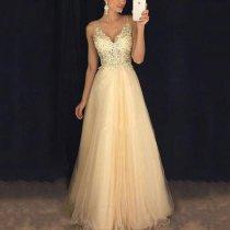 Sexy V Collar Chiffon Sequined Evening Dress