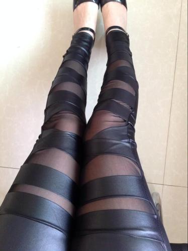 Slim Gauze Cross Binding PU See-through 9/10 Slim Leggings